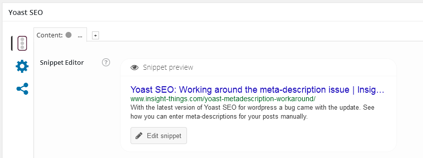 meta description in Yoast SEO plug-in after the procedure